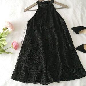 Zara Black High Neck Dress With Gold Dots